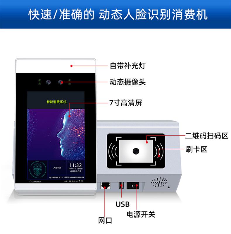 人脸识别消费机,刷脸+手机扫码+刷卡(图13)