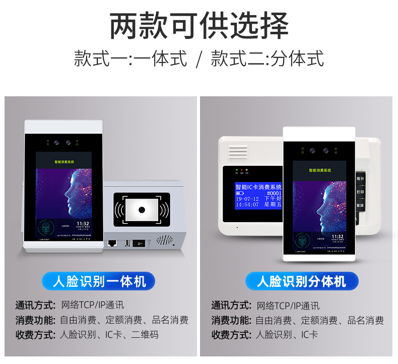 人脸识别消费机,刷脸+手机扫码+刷卡(图15)
